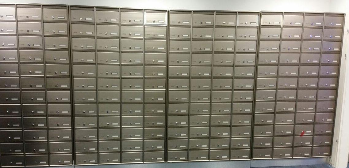 מערכת תאי דואר דו צדדית  למוסדות או בניינים משותפים